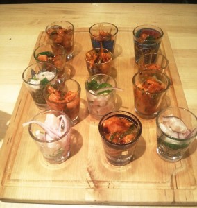 Ceviches in Shot Glasses