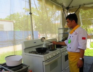 Chef Peng Wang in the Open-Air Kitchen