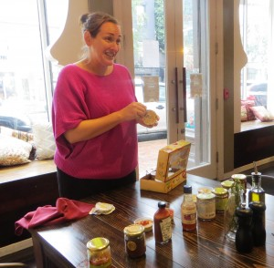 Mary Beth Sets Up the Tasting