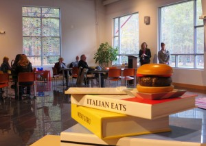Book Talk Corner and Wooden Books (Burger Night by Mark E. Elfman)