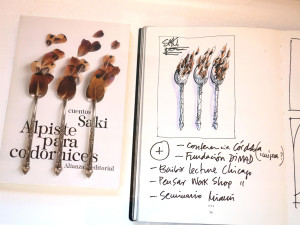 In the Vitrines: Sketches of Process, and Final Book Cover