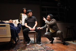 Glenn Kubota (Ray's Father), Eunice Bae (Cornelia), Tony Nam (Ray), and Song Kim (Uncle) in Julia Cho's Aubergine at Olney Theatre Center. (Photo: Stan Barouh)